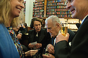 SABRINA GUINNESS; MICA ERTEGUN; SIR JOHN RICHARDSON; CHRIS ELY, The London Library Annual  Life in Literature Award 2013 sponsored by Heywood Hill. The London Library Annual Literary dinner. London Library. St. james's Sq. London. 16 May 2013.