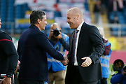 Sean Dyche Manager of Burnley and Jack Ross Manager of Sunderland shake hands during the EFL Cup match between Burnley and Sunderland at Turf Moor, Burnley, England on 28 August 2019.