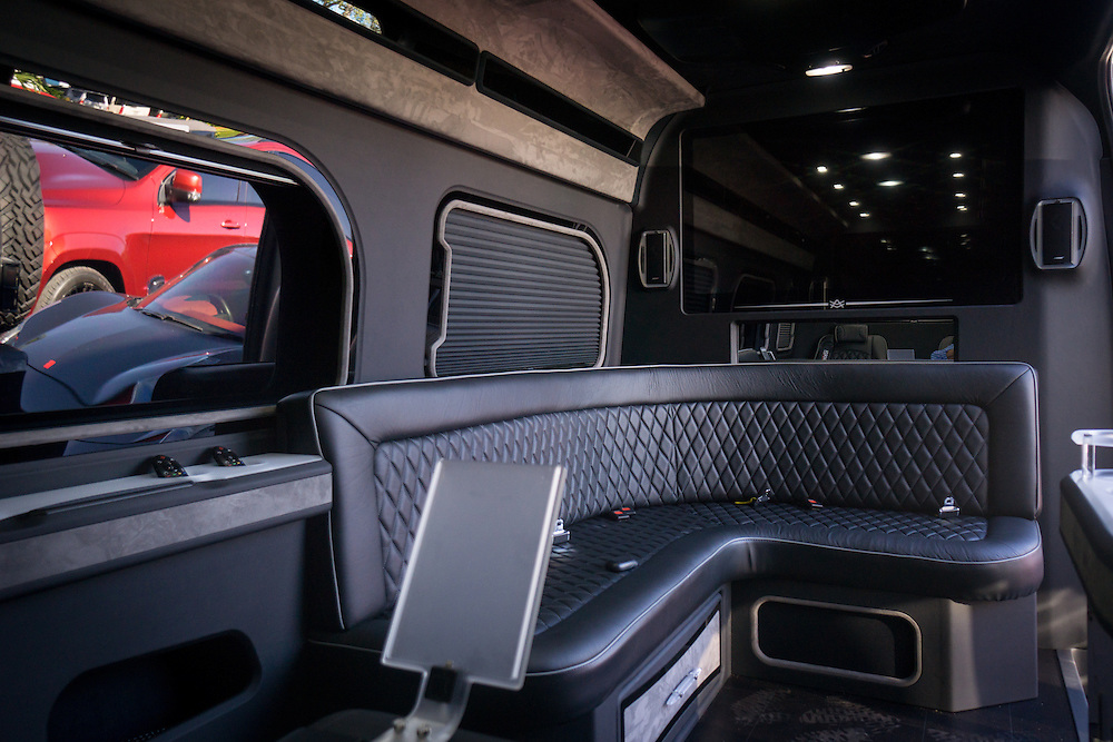 DORAL, FLORIDA, DECEMBER 11, 2015<br /> The interior of a customized Mercedes Benz limo van at The Auto Firm, a South Florida car customizing and restoring shop which has a vast clientele of professional athletes and entertainers.  The owner of business, Alex Vega, sold two of the $175,000 vehicles on this day, one to a professional baseball player and the other one to an Atlanta rapper.<br /> (Photo by Angel Valentin/Freelance)