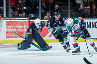 KELOWNA, CANADA - JANUARY 5: Liam Hughes #30 and Turner Ottenbreit #4 of the Seattle Thunderbirds defend the net as Leif Mattson #28 of the Kelowna Rockets looks for the pass on January 5, 2017 at Prospera Place in Kelowna, British Columbia, Canada.  (Photo by Marissa Baecker/Shoot the Breeze)  *** Local Caption ***
