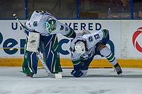 PENTICTON, CANADA - SEPTEMBER 8: Thatcher Demko #35 checks on Jalen Chatfield #63 of Vancouver Canucks after a check by the Winnipeg Jets on September 8, 2017 at the South Okanagan Event Centre in Penticton, British Columbia, Canada.  (Photo by Marissa Baecker/Shoot the Breeze)  *** Local Caption ***
