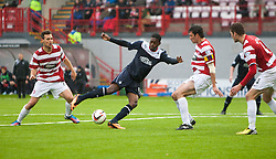 Hamilton's Anthony Andreu and Falkirk's Rakish Bingham.<br /> Hamilton 2 v 0 Falkirk, Scottish Championship played today at New Douglas Park.<br /> &copy;Michael Schofield.