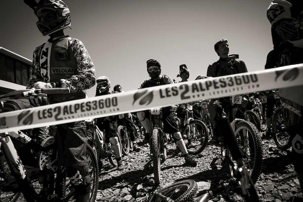 Riders at the start line during the first day of heats of the Mountain of Hell race.