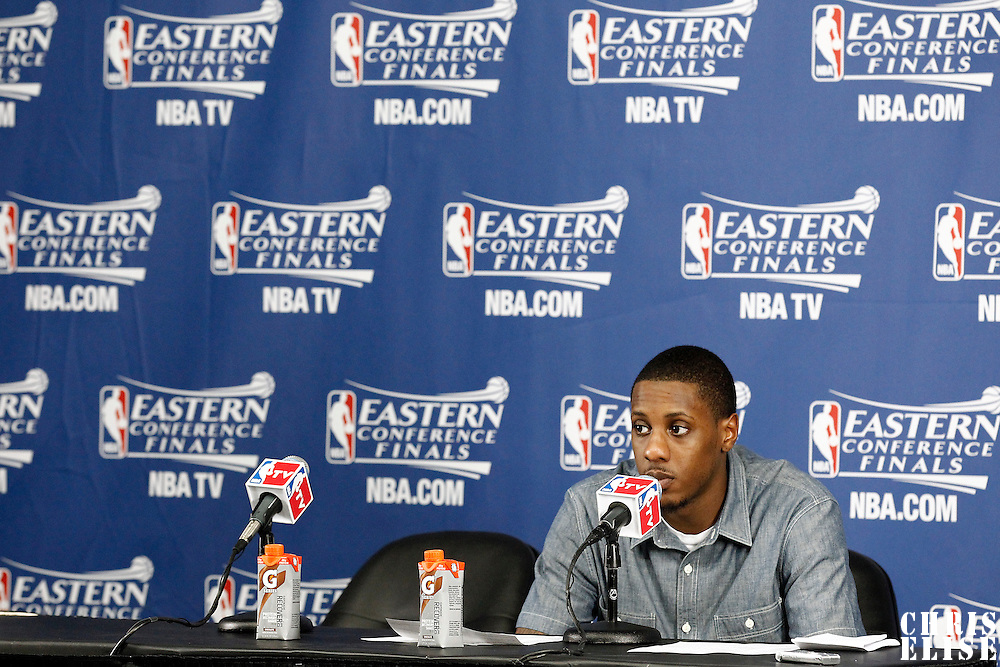 03 June 2012: Miami Heat point guard Mario Chalmers (15) answers to journalists during the press conference after the Boston Celtics 93-91 overtime victory over the Miami Heat, in Game 4 of the Eastern Conference Finals playoff series, at the TD Banknorth Garden, Boston, Massachusetts, USA.