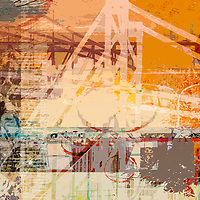 Abstract art with a bridge and words