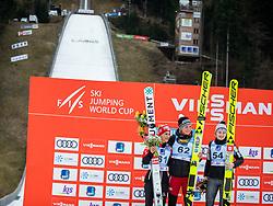 LUNDBY Maren (NOR) PINKELNIG Eva (AUT)  KRIZNAR Nika (SLO) celebrate after FIS Ski Jumping World Cup Ladies Ljubno 2020, on February 23th, 2020 in Ljubno ob Savinji, Ljubno ob Savinji, Slovenia. Photo by Matic Ritonja / Sportida