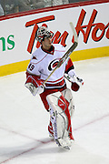 17 November 2009: Carolina Hurricanes' goalie' Michael Leighton takes a look at the scoreboard during the first period against Montreal Canadiens at the Bell Centre in Montreal, Quebec, Canada. Montreal Canadiens defeated Carolina Hurricanes 3-2 after a shootout.