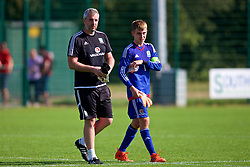 NEWPORT, WALES - Wednesday, July 25, 2018: Combined Regional goalkeeping coach Jonny Martin and goalkeeper Tyler Evans during the Welsh Football Trust Cymru Cup 2018 at Dragon Park. (Pic by Paul Greenwood/Propaganda)