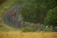 The peloton cycles through the Surrey Hills in The Prudential RideLondon Classic. Sunday 29th July 2018<br /> <br /> Photo: Jon Buckle for Prudential RideLondon<br /> <br /> Prudential RideLondon is the world's greatest festival of cycling, involving 100,000+ cyclists - from Olympic champions to a free family fun ride - riding in events over closed roads in London and Surrey over the weekend of 28th and 29th July 2018<br /> <br /> See www.PrudentialRideLondon.co.uk for more.<br /> <br /> For further information: media@londonmarathonevents.co.uk