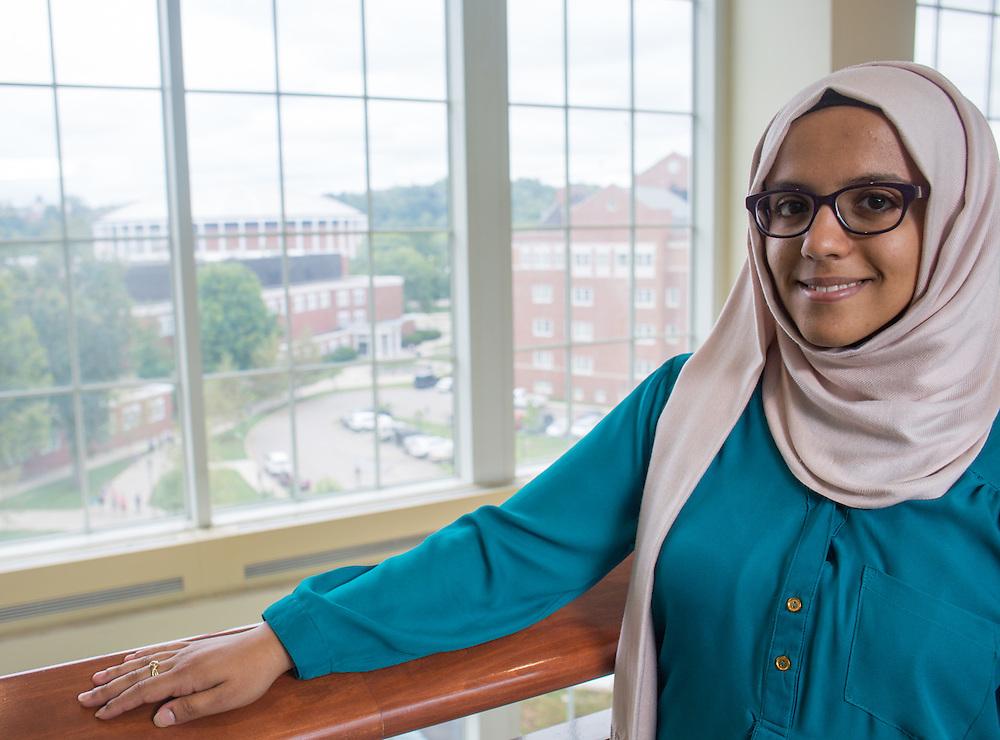 Noha Al-khalqi poses for a portrait in Baker Center on Thursday, September 10, 2015. Photo by Emily Matthews