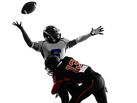 two american football players quarterback sacked fumble in silhouette shadow on white background
