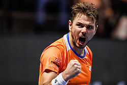 September 22, 2018 - Saint Petersburg, Russia - Stan Wawrinka of Switzerland celebrates during his St. Petersburg Open 2018 semi final tennis match against Martin Klizan of Slovakia on September 22, 2018 in Saint Petersburg, Russia. (Credit Image: © Mike Kireev/NurPhoto/ZUMA Press)
