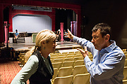 "JULY 8, 2018  LANCASTER, OHIO:<br /> <br /> Director of Theater at Ohio University Lancaster, A. Victor Jones (right), and actress and long time best friend, Jennifer Myers, talk during an intermission in the Wagner Theater during a rehearsal for the production of ""Hello, Dolly!"" at Ohio University Lancaster."