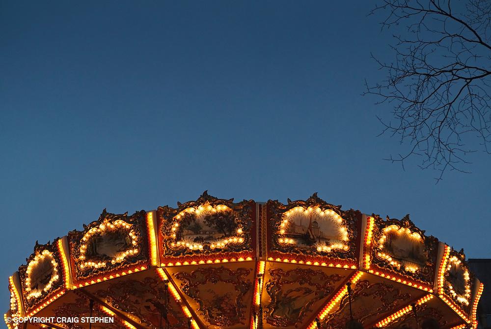 Carousel in Edinburgh Princes Street Gardens during Winter Wonderland celebrations.