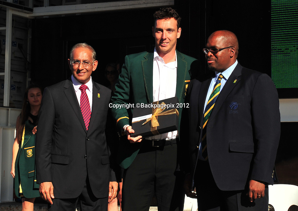 Haroon Lorgat (Cricket South Africa CEO), Kyle Abbot and Chris Nenzani (President of Cricket South Africa) during the 2015 Cricket World Cup Protea squad announcement  at the V&A Waterfront, Cape Town on 7 January 2015 ©Ryan Wilkisky/BackpagePix