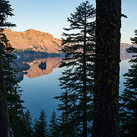 View of Phantom Ship island at dawn in Crater Lake National Park in Oregon.