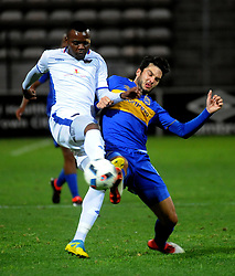 Cape Town 18-03-03 Cape Town City Putsche Roland attacking as Chippa player Andile Mbenyane  defending  in the PSL Game In Athlone Staduim Pictures Ayanda Ndamane African news agency/ANA