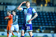 Wycombe Wanderers defender (on loan from Birmingham City) Dan Scarr (28) gestures to a disgruntled fan during the EFL Sky Bet League 2 match between Wycombe Wanderers and Coventry City at Adams Park, High Wycombe, England on 27 February 2018. Picture by Dennis Goodwin.