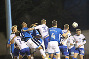 GOAL Ryan Delaney scores from a corner 0-1 during the EFL Sky Bet League 1 match between Bury and Rochdale at the JD Stadium, Bury, England on 3 April 2018. Picture by Daniel Youngs.