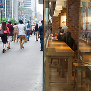 Watching the world go by from from a counter at Pret-A-Manger cafe on Sixth Avenue