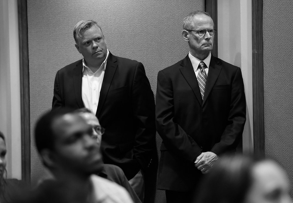 The Tampa Tribune Publisher Brian Burns, left, stands next to Paul Tash, Chairman and CEO of Tampa Bay Times as employees are told that The Tampa Tribune has been sold to rival Tampa Bay Times Tuesday, May 3, 2016. CHRIS URSO/STAFF