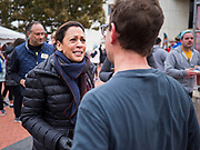 28 NOVEMBER 2019 - DES MOINES, IOWA: US Senator KAMALA HARRIS (D-CA) talks to people in the finish area of the Turkey Trot. The Turkey Trot is an annual Des Moines Thanksgiving Day 5 mile fun run. Sen. Harris greeted runners in the finish area and handed out cookies. She is running to be the Democratic nominee for the US Presidency in 2020. Iowa hosts the first selection event of the presidential election season. The Iowa caucuses are February 3, 2020.             PHOTO BY JACK KURTZ