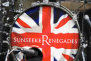 The Sunseeker Renegades, a band made up of employees, warms up for the opening. The CWM FX London Boat Show, taking place 09-18 January 2015 at the ExCel Centre, Docklands, London.