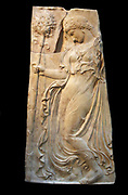 Marble relief with a dancing maenad  Roman adaptation of work attributed to Kallimachos ca. 27 B.C.–A.D. 14  Copy of a Greek relief of ca. 425–400 B.C. attributed to Kallimachos