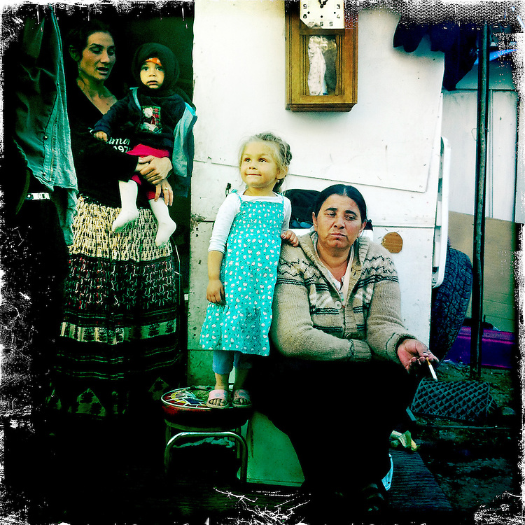 Montreuil, Seine Saint Denis. France. June 22nd 2012..In a gypsy camp.