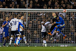 Kasper Schmeichel of Leicester City punches the ball clear - Mandatory byline: Jason Brown/JMP - 07966386802 - 10/01/2016 - FOOTBALL - White Hart Lane - London, England - Tottenham v Leicester City - The Emirates FA Cup