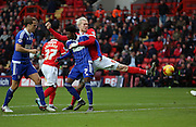 Charlton Athletic striker Simon Makienok getting blocked off during the Sky Bet Championship match between Charlton Athletic and Ipswich Town at The Valley, London, England on 28 November 2015. Photo by Matthew Redman.