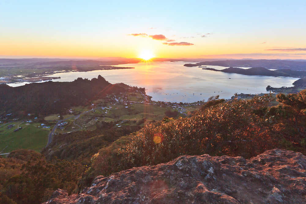 A view from the summit of Mount Manaia. Mt Manaia is a dominant landmark approximately 30 kilometres southeast of Whangarei city on the Whangarei Heads peninsula.<br />