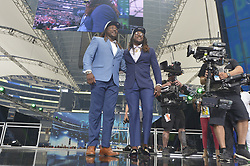 The Seattle Seahawks selected UCF linebacker Shaquem Griffin, left, joining his twin brother Shaquill on the team, in the fifth round, 141st overall, during the final day of the 2018 NFL Draft at AT&T Stadium in Arlington, Texas, on Saturday, April 28, 2018. (Max Faulkner/Fort Worth Star-Telegram/TNS/ABACAPRESS.COM