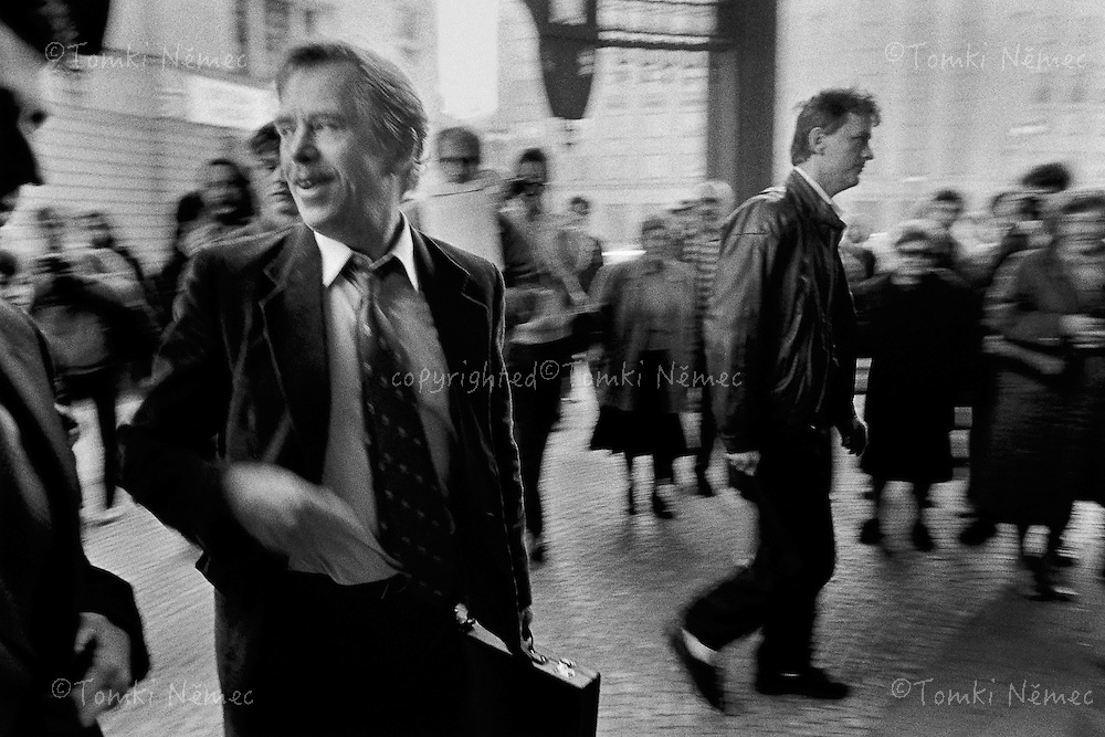 Prague, 18 March 1990 - Municipal House.Vaclav Havel arriving for the first meeting of Charter 77 signatories in freedom.