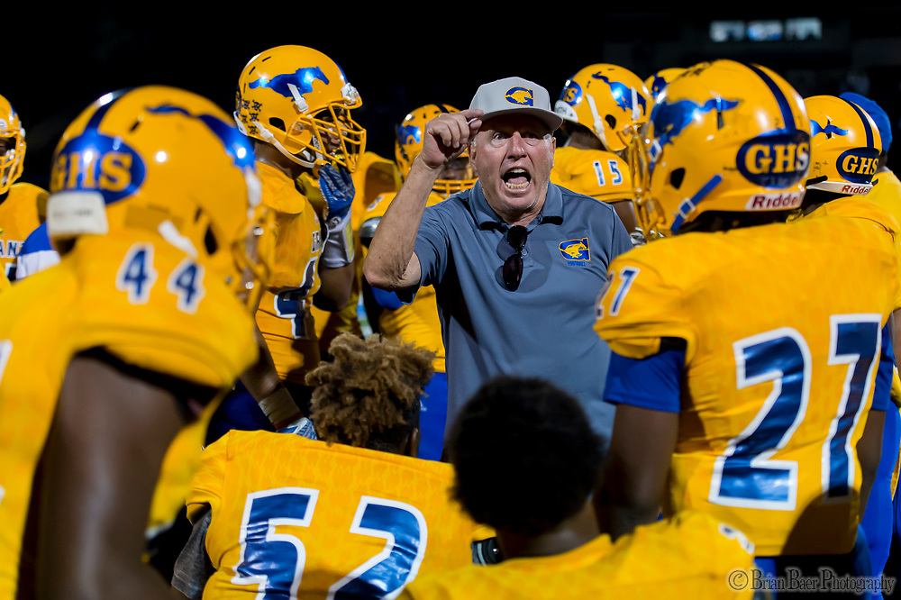 Grant Pacers head coach Mike Alberghini,yells at his team to stop the personal foul penalties during the third quarter as the Capitol Christian Cougars host the Grant Pacers,  Friday Sep 8, 2017. photo by Brian Baer