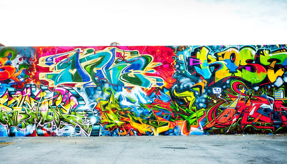 Spectacular graffiti mural in Miami's Wynwood Arts District