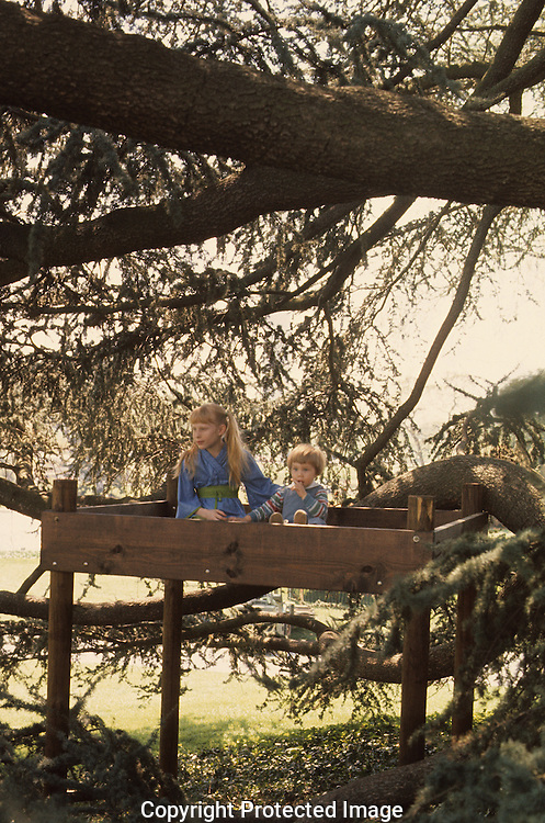 Amy Carter with Jason Carter, the grandson of President Jimmy Carter play in a tree house on the South Lawn of the White House in April 1977...Photograph by Dennis Brack bb 21