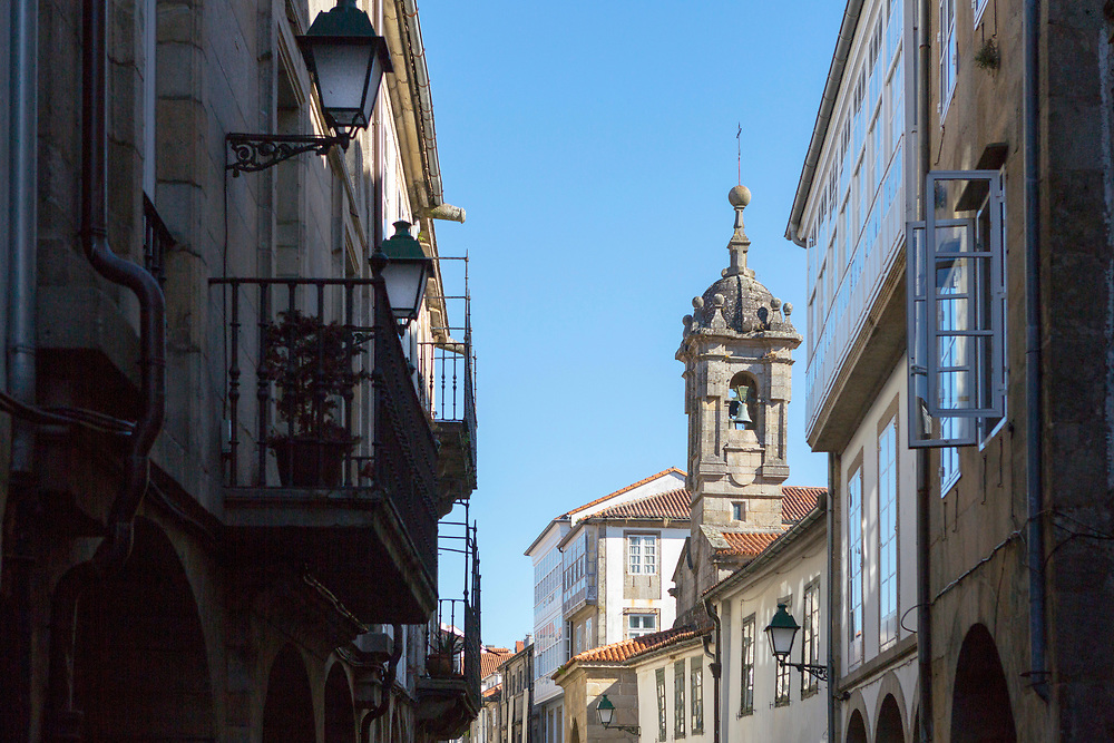Church and bell tower architecture in Santiago de Compostela, Galicia, Spain.