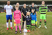 Officials and captains during the EFL Sky Bet League 2 match between Forest Green Rovers and Mansfield Town at the New Lawn, Forest Green, United Kingdom on 24 March 2018. Picture by Shane Healey.