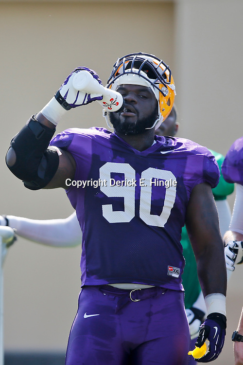 Aug 8, 2013; Baton Rouge, LA, USA; LSU Tigers defensive tackle Anthony Johnson (90) during a fall practice at the McClendon Practice Facility. Mandatory Credit: Derick E. Hingle-USA TODAY Sports