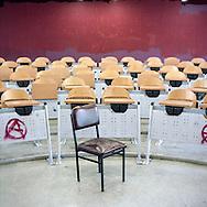 A classroom at Panteion University in Athens, Greece.