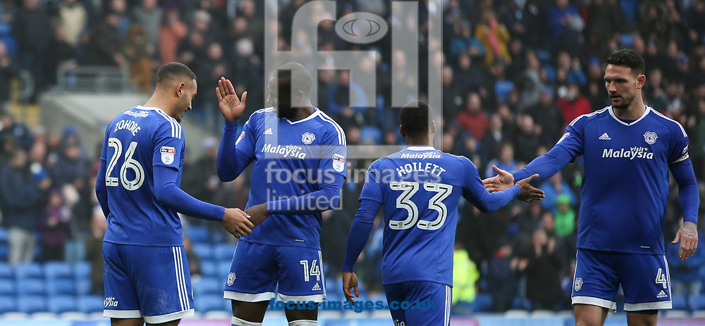Kenneth Zohore (L) celebrates the second goal for Cardiff City against Ipswich Town during the Sky Bet Championship match at the Cardiff City Stadium, Cardiff<br /> Picture by Mike Griffiths/Focus Images Ltd +44 7766 223933<br /> 18/03/2017