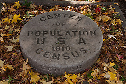 Center of USA Population for the 1910 Census marker at Monroe County Courthouse, Bloomington, Indiana, United States of America