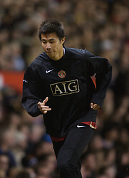 Manchester, England - Tuesday, March 13, 2007: Manchester United's Dong Fangzhuo warms-up as a substitute during the UEFA Celebration Match against a Europe XI at Old Trafford. (Pic by David Rawcliffe/Propaganda)