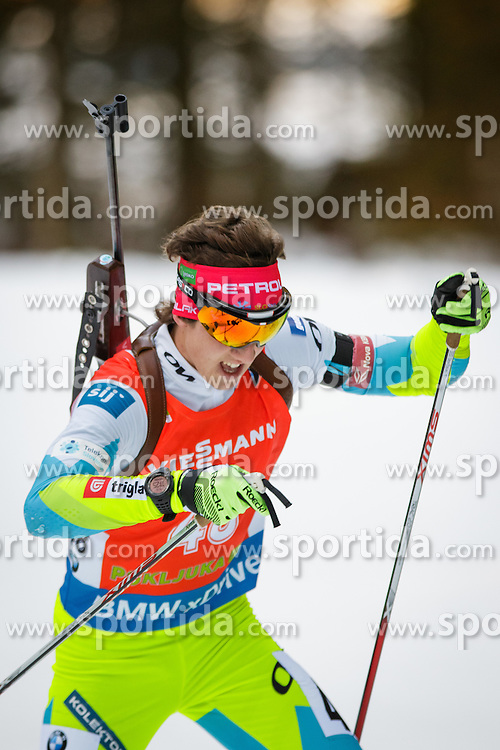 Miha Dovzan (SLO) competes during Men 12,5 km Pursuit at day 3 of IBU Biathlon World Cup 2015/16 Pokljuka, on December 19, 2015 in Rudno polje, Pokljuka, Slovenia. Photo by Ziga Zupan / Sportida