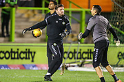Forest Green Rovers goalkeeper James Montgomery warming up with Forest Green Rovers goalkeeper coach Pat Mountain during the EFL Trophy group stage match between Forest Green Rovers and U21 Arsenal at the New Lawn, Forest Green, United Kingdom on 7 November 2018.