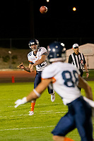 KELOWNA, BC - AUGUST 3:  Nicolas Nica QB #12 of Kamloops Broncos throws the ball against the Okanagan Sun at the Apple Bowl on August 3, 2019 in Kelowna, Canada. (Photo by Marissa Baecker/Shoot the Breeze)