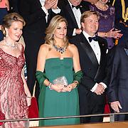 NLD/Amsterdam/20161129 - Staatsbezoek dag 2, contraprestatie Belgische koningspaar, Koningin Mathilde, Koningin Maxima, Koning Willem Alexander, Koning Filip, en prinses Beatrix