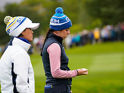 Auchterarder, Scotland, UK. 14 September 2019. Saturday afternoon Fourballs matches  at 2019 Solheim Cup on Centenary Course at Gleneagles. Pictured; Georgia Hall and Celine Boutier (l) of Team Europe  on the 11th hole. Iain Masterton/Alamy Live News