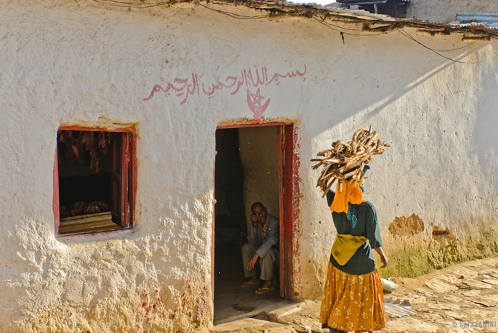 Women and girls carrying wood, Muslim market (Gidir Magala) in the Old Town,  Harar, town listed as World Heritage by UNESCO, Ethiopia, Africa